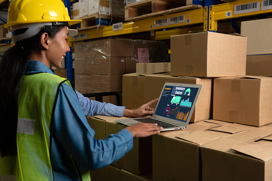 Warehouse worker using a MYOB Greentree application in a laptop