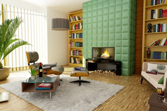 Living area with cheap rug